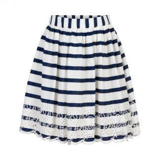 Creamie - Skirt Cotton Stripes (821408) - White / Total Eclipse