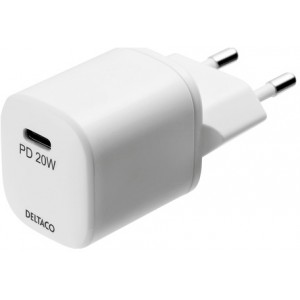 Deltaco Wall Charger Usb-c Pd 20w, White - Oplader