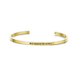 """Forgyldt cuff armbånd - """"Best mom in the world"""""""