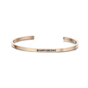 """Rosaguld cuff armbånd - """"Be happy and smile"""""""