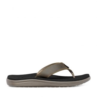 Teva M Voya Flip Leather - Sandal til mænd - Dark Olive - Str 39