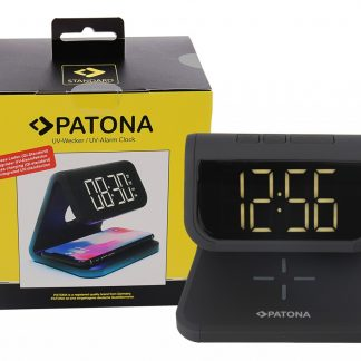 PATONA Alarm clock with LCD display wireless charging function and UV disinfection black